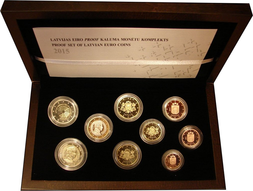 Proof set of Latvian Euro coins (2015)